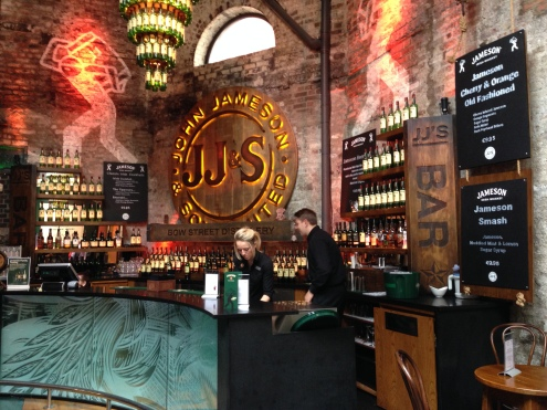 The bar inside the waiting area for the distillery.