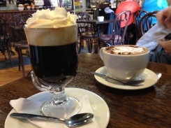 Irish Coffee and Bailey's Cappuchino across the street in the cafe.