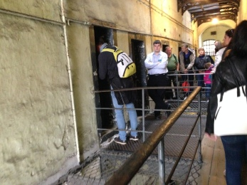 Peering in the historic cells.