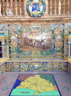 Mosaic tiles representing Madrid at Plaza de Espana, Seville, Spain