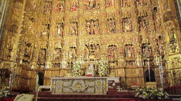 Gold Wall inside the Seville Cathedral