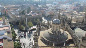 Arial view of Real Alcazar from Seville Cathedral Tower, Spain