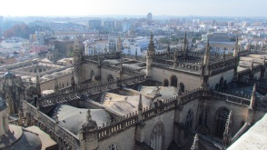 Seville Cathedral aerial view from the Tower, Seville, Spain