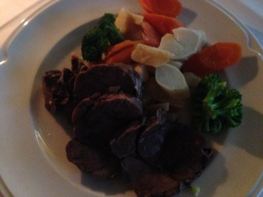 Boiled beef and steamed veggies. Very typical and very hearty.