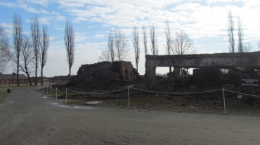 The burned crematorium.