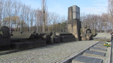 The stone monument at Auschwitz-Birkenau.