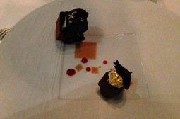 Dark chocolate and black truffle dessert.