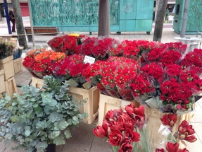 Fresh flowers for sale in the town square.