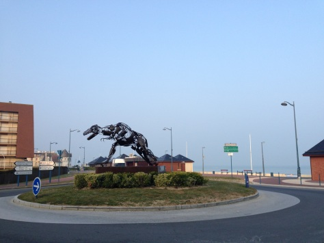 Villers-sur-Mer is famous for its dino finds. This greets you as you drive into the city.