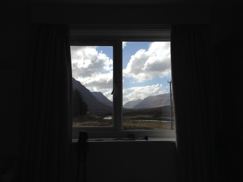 The view through the window into Glencoe.