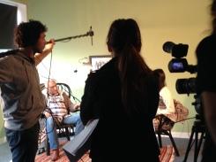 Filming inside Ealing Studios.