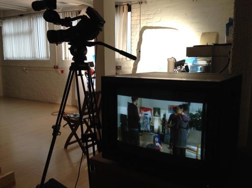 Filming inside the Warwick Met Film Studios.