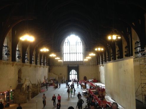 The oldest part of the Palace of Westminster; Westminster Hall.