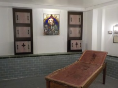 A recreated mortuary in the basement of the museum.