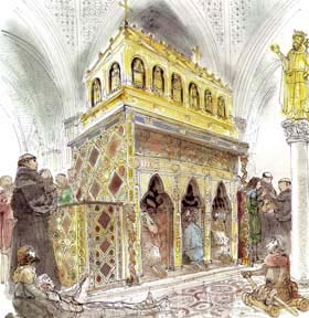 A reconstruction drawing of the original Shrine by David Gentleman.