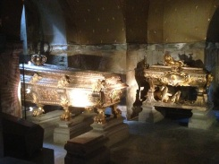 The royal children in gold coffins sectioned off in a separate room.