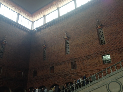 The tall red brick walls of the Blue Hall.