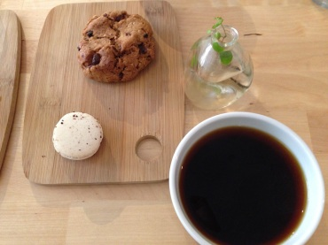My Americano with an espresso macaron. Jeff had a classic cookie.