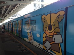 And even the trains are covered in cartoon ads.