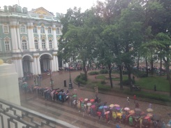 The line to get into the Hermitage continued to grow throughout the day.