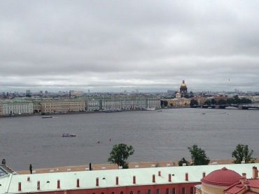 In the distance, St. Isaac's Cathedral and the Winter Palace.