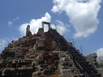 A high up stairway at the Temple of the Leper King.