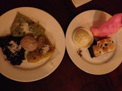 Sticky rice with red bean ice cream and a chocolate cake with cotton candy for dessert.
