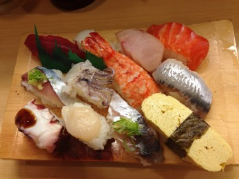 The chef's special plate of sushi.