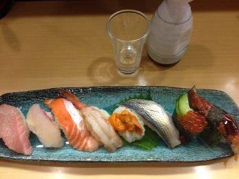 The premium plate of sushi complete with uni.