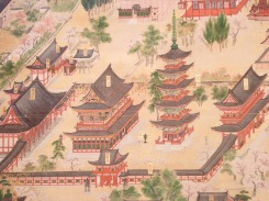 A historical rendition of the full compound from the air.