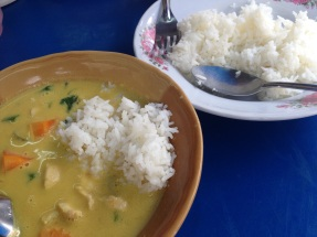 Green curry made to order with white rice. The best meal in Phuket.
