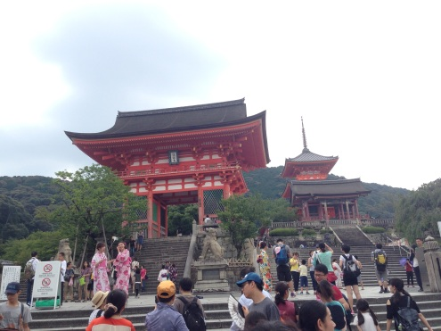 Walking up the steep stairs to the Kiyomizu Temple.