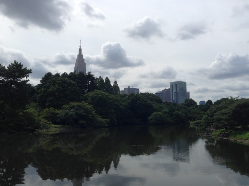 The views of Tokyo from the garden greenhouse.