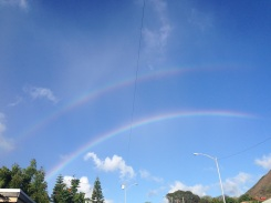 A double rainbow after the rainstorm.