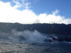 Lava steaming the cold water.