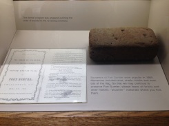 An original brick laid by a slave for the reinforcement of the fort.