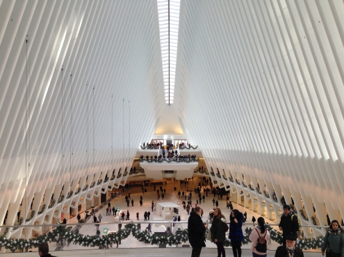 Inside the Oculus, which is just a large mall.