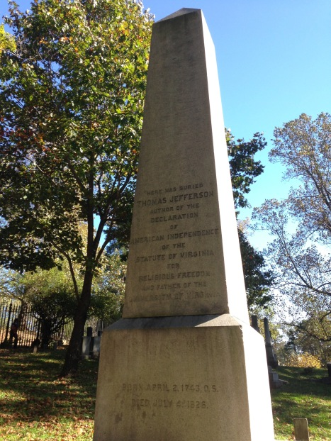 The obelisk dedicated to Jefferson.