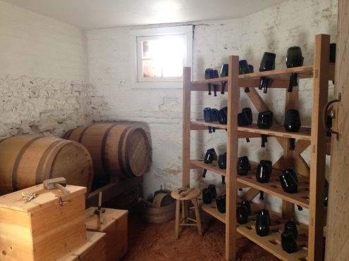 A view of the wine cellar.
